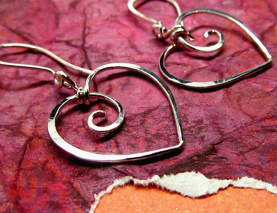 Sweet Heart Earrings, Sterling Silver, Gold Filled or Solid 14k Yellow Gold - Wire Wrapped Metalwork Charms by AUNALIArtisanMetal on Etsy https://www.etsy.com/listing/220981184/sweet-heart-earrings-sterling-silver