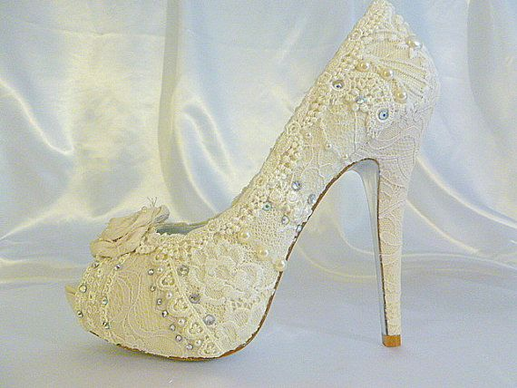 345f95dc3e5e Lacey Ivory wedding shoes .. with 5 1 4 heels and shabby chic rosette on  toes
