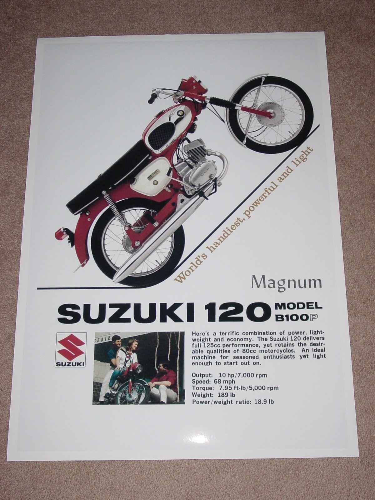 1960's suzuki b100p vintage motorcycle poster 36x24 | motorcycle