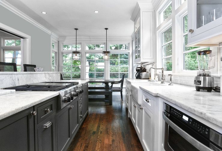 Black White Galley Kitchen White Galley Kitchens Dining Room Renovation Galley Style Kitchen