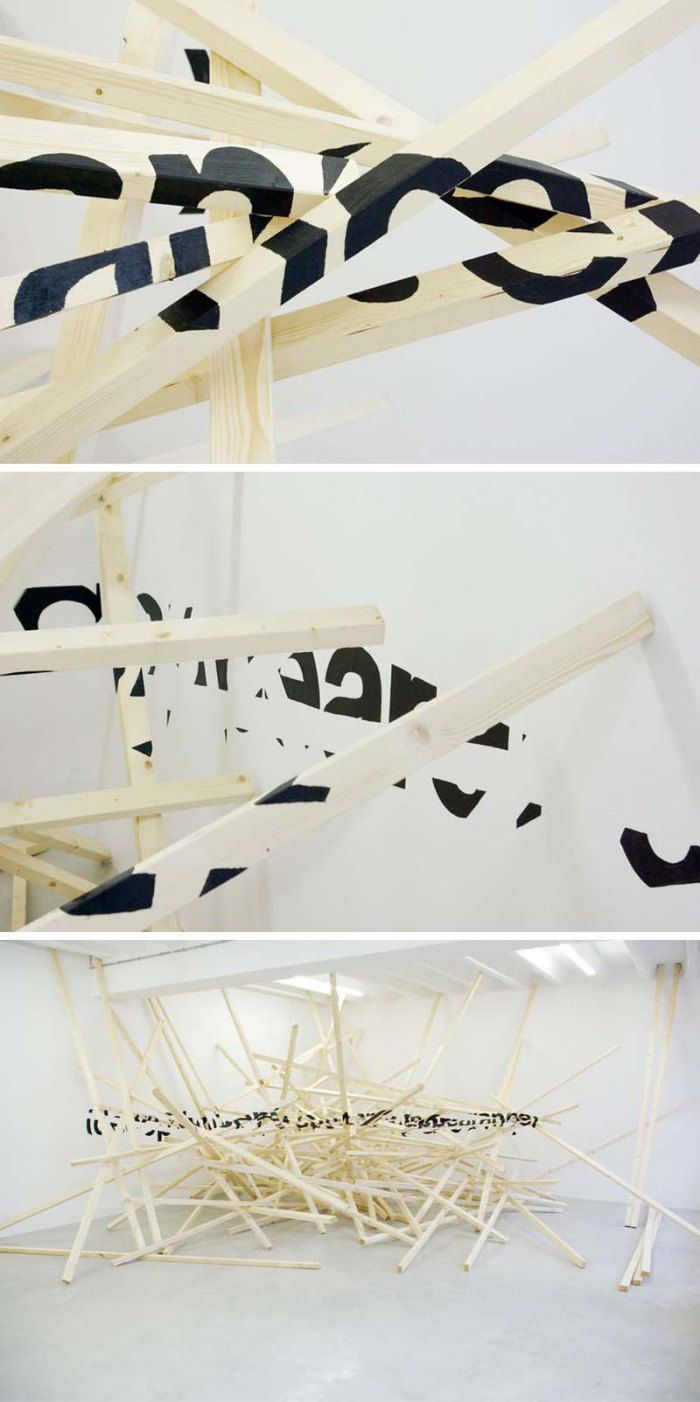 Ole martin lund bø anamorphic typography sculpture deceptive outward appearance
