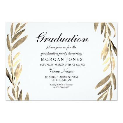 Golden Leaf Boy or Girl Graduation Invitation Custom invitations