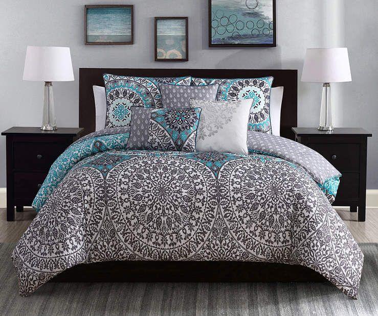 Project Runway Katrina Aqua & Gray Queen 6Piece Comforter