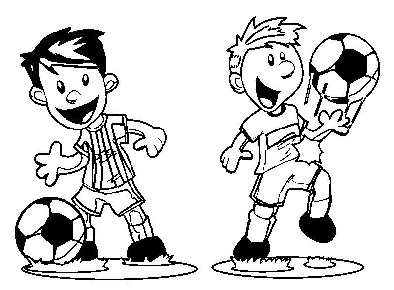 Perfect Cartoon Playing Football Coloring Page Also See The