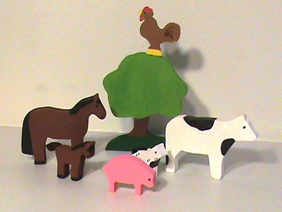 Wooden Toy Farm Set  Animals Building and by OzarkRusticWood, $59.95