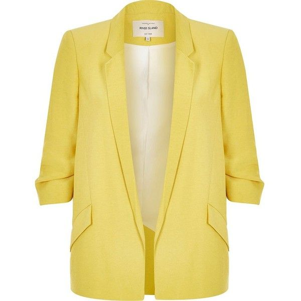 River Island Yellow ruched sleeve blazer (955 SEK) ❤ liked on Polyvore featuring outerwear, jackets, blazers, tops, chaqueta, coats / jackets, women, yellow, woven jacket and yellow jacket