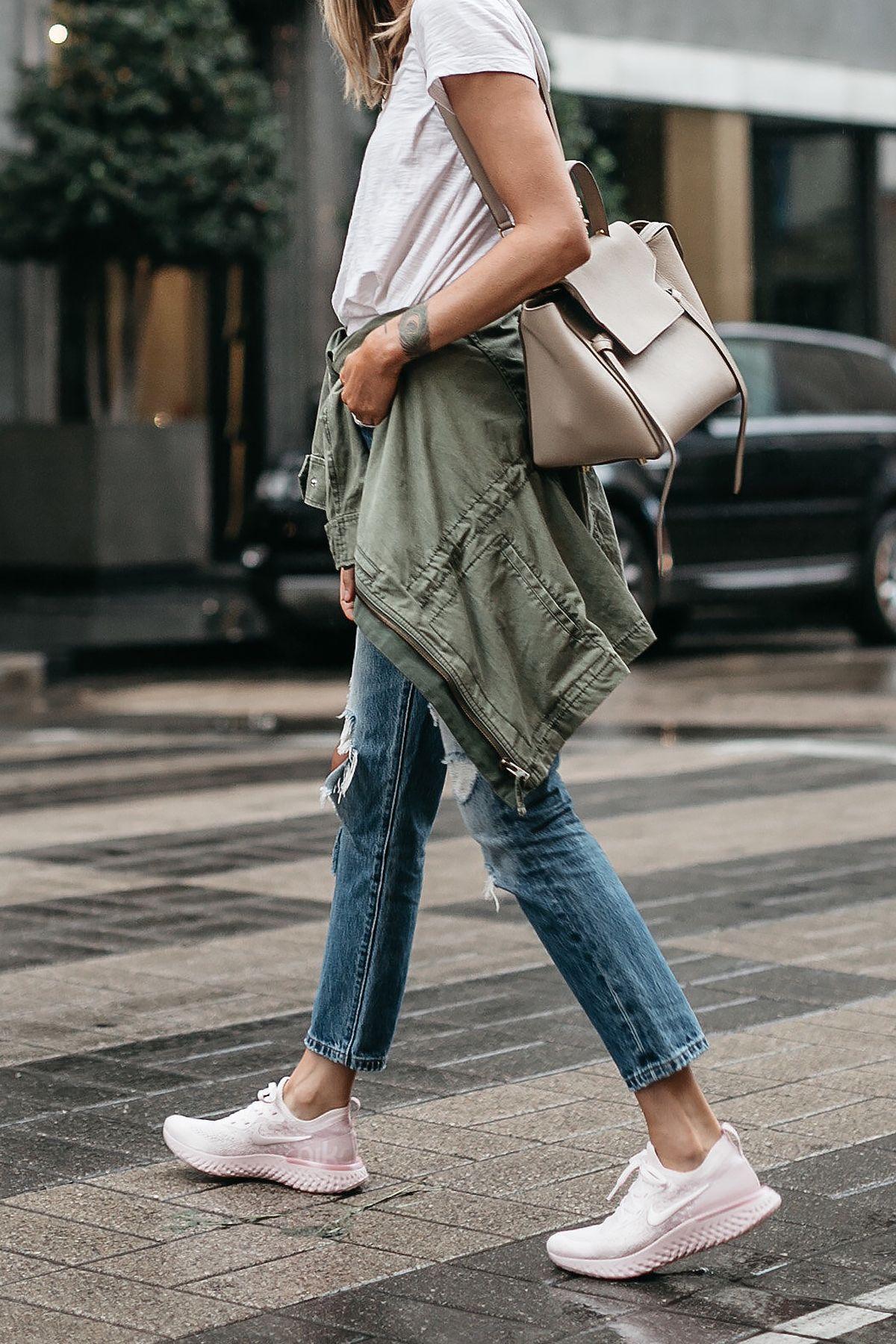 6ae282959e2 ... React Running Shoe White Tshirt Ripped Denim Jeans Green Utility Jacket  Celine Mini Belt Bag Fashion Jackson Dallas Blogger Fashion Blogger Street  Style