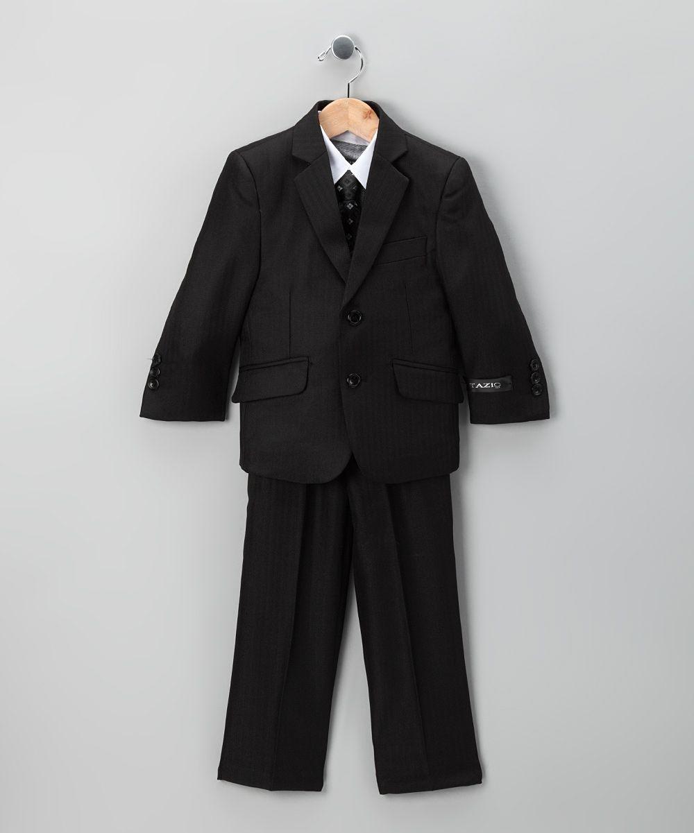 Black Herringbone Five-Piece Suit - Toddler & Boys