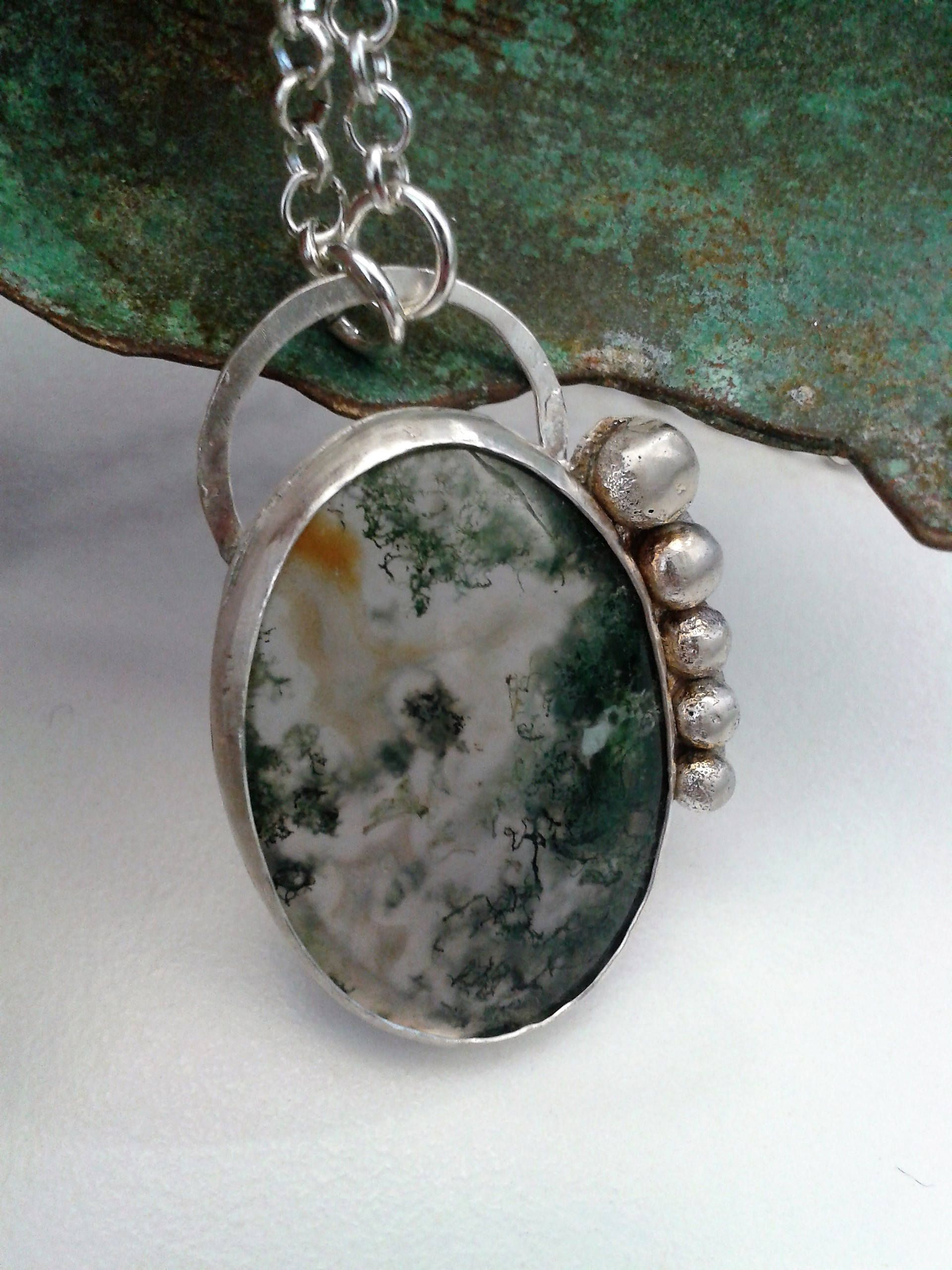 Cabochon moss agate genuine gemstones wired wrapped pendant.