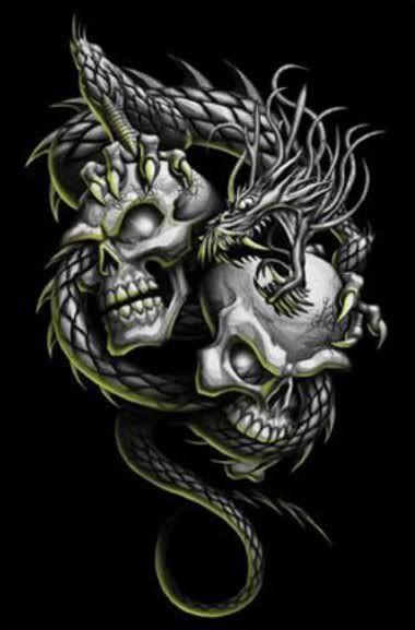 Skulls and a dragon.