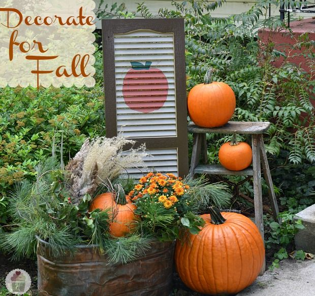 Autumn Yard Decorations: Fall Outdoor Decorating With DIY Painted Shutter