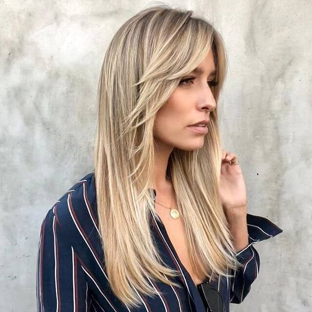 Long Hair With Side Bangs And Face Framing Layers