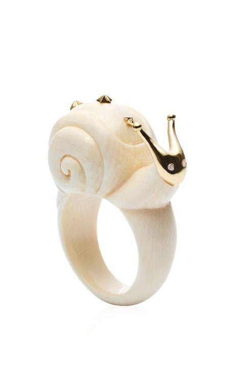 Shop Golden Snail Ring by Bibi Van Der Velden for Preorder on Moda Operandi