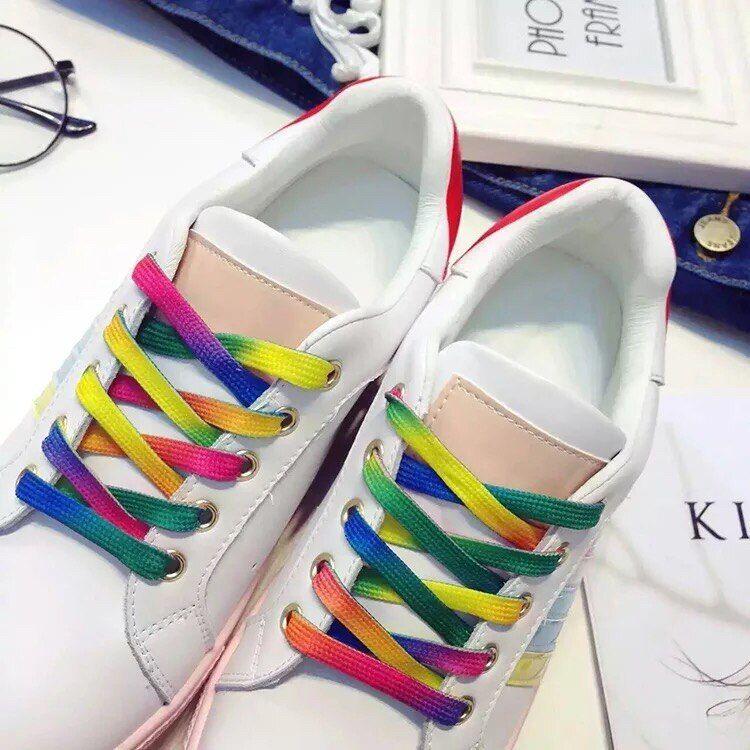 Pair Flat DOUBLE SIDE PRINTED Shoe Laces Strong Shoelaces Rainbow STRONG UNIQUE