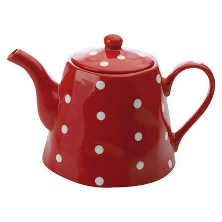 Stoneware teapot with embossed polka dot details.        Product: Teapot   Construction Material: Stoneware ...