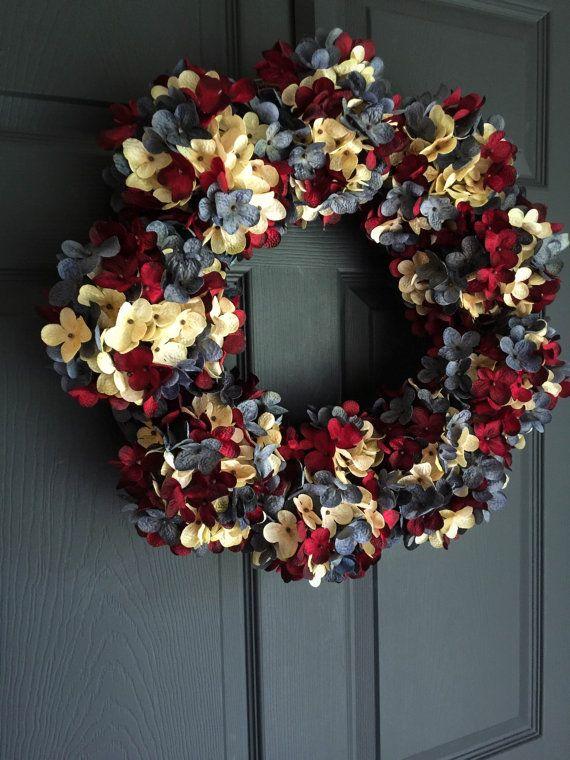 Photo of Red White Blue Wreath | Patriotic Wreaths | 4th of July Wreath | Americana Wreath Decor | Blended Hydrangea Wreath | Military wreath