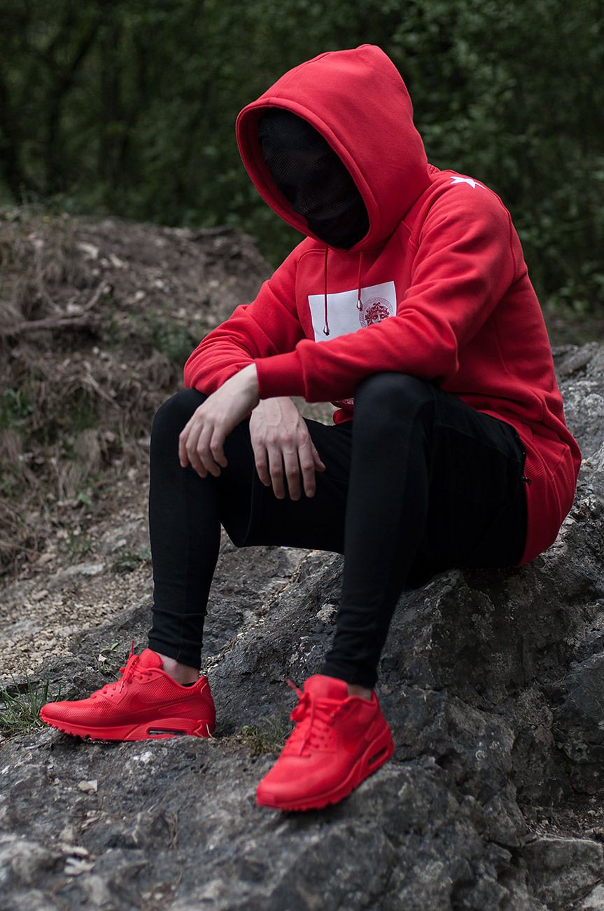 Admirable Co Red Hoodie By Admirable Co Mens Outfits Clothing Logo Photography Poses For Men