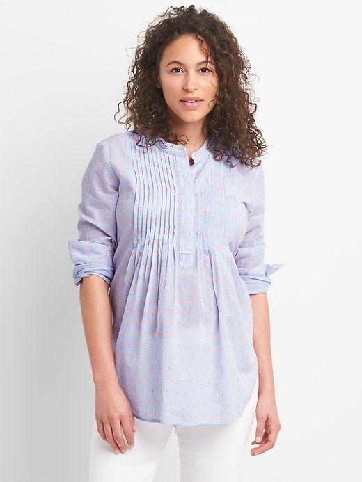 a630cd9b69 Gap Womens Maternity Pintuck Blouse In Clip-Dot Blue White Stripe ...