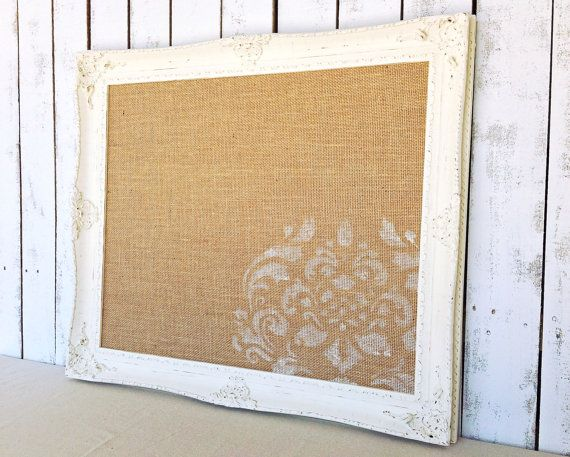 Framed Cork Board Pin Board Bulletin Board Antique White