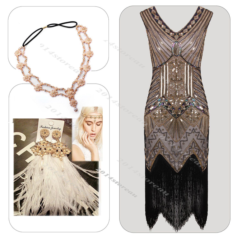 Vintage charleston s dress flapper gatsby party fringe s
