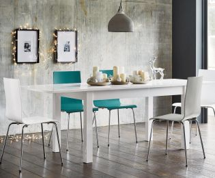 Buy Valencia White Gloss Extending Dining Table from the Next UK