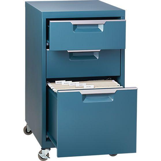 TPS Teal 3 Drawer Filing Cabinet | CB2$159