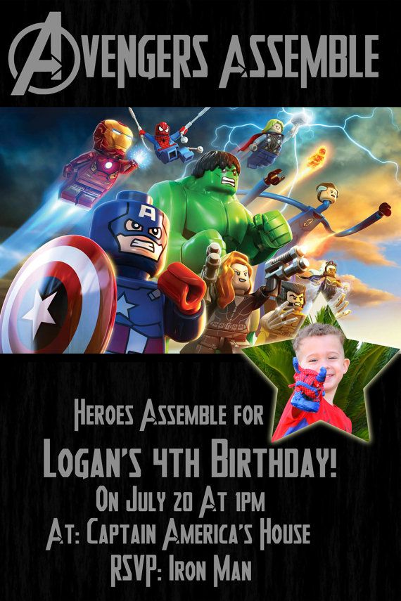 Marvel Avenger Lego Super Hero Invitation With FREE Thank You Custom Order Digital 4x6