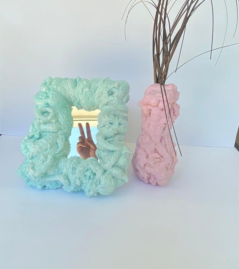 Pastel foam plant vases