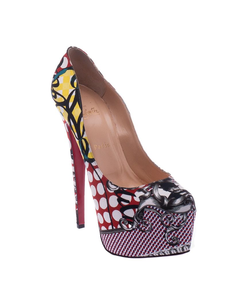 Christian Louboutin Women's Sakouette Face Polka-Dot Fabric Platform Pumps,  Size 41 | Cash