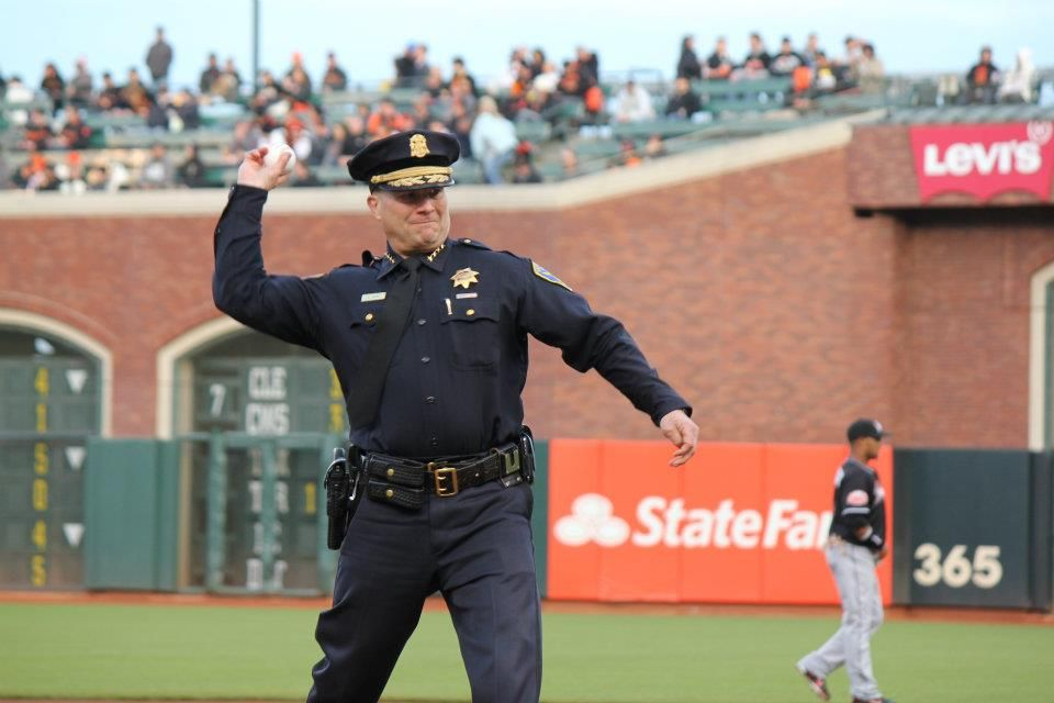 Chief suhr throws out first pitch giants game police