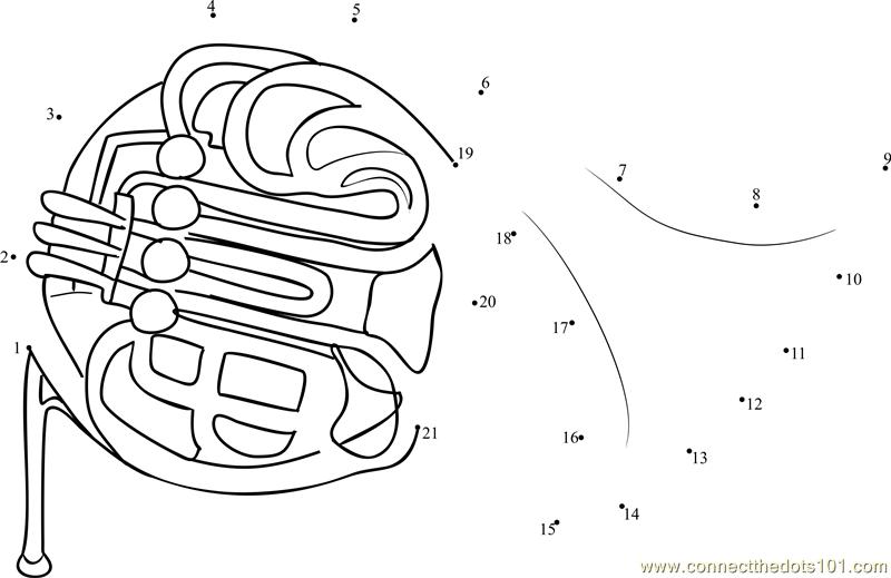 Yamaha French Horn Tuba Dot To Dot Printable Worksheet