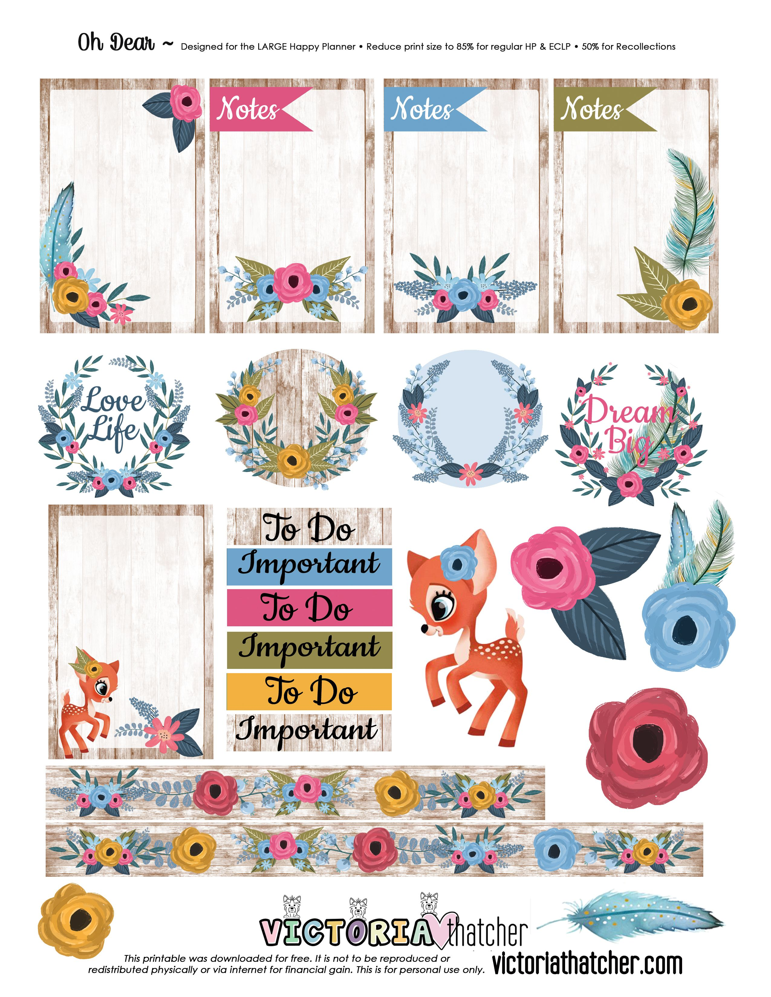 free printable oh dear planner stickers from victoria thatcher