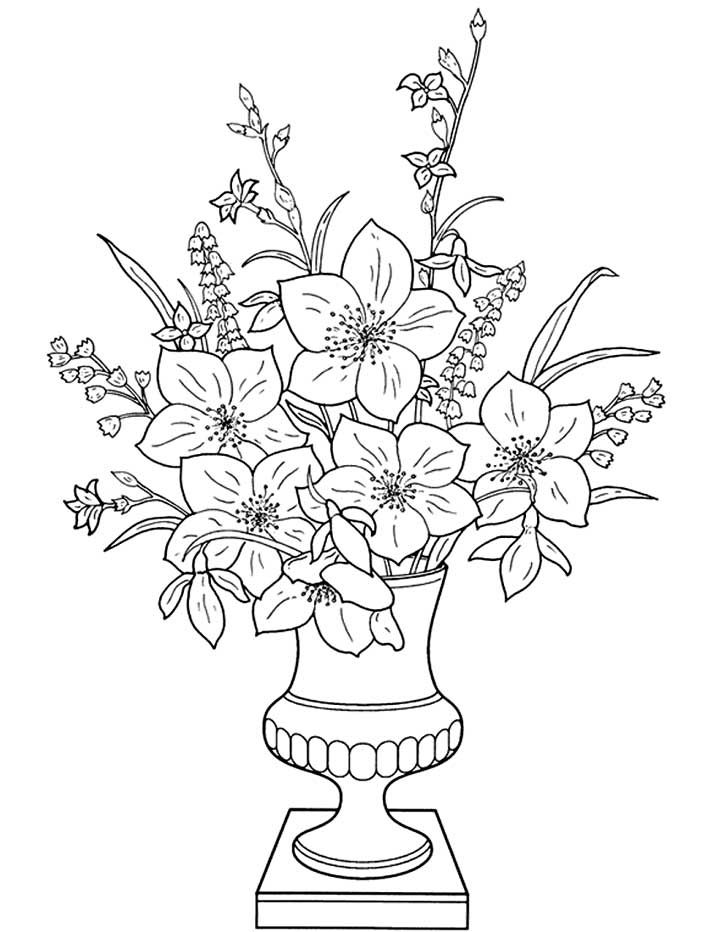 flowers in a vase coloring page for kids free printable