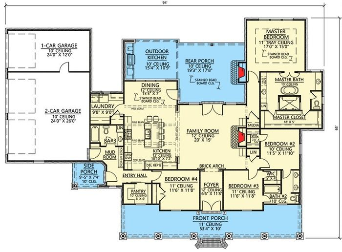 Plan 56418sm 4 Bed Southern House Plan With Vaulted Ceilings Southern House Plan House Plans Southern House Plans