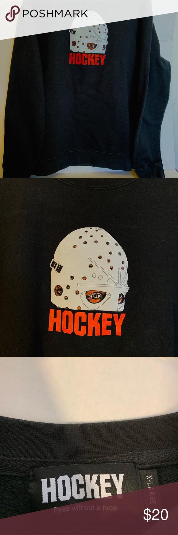 Black Hockey Skateboard Sweater X Large Crew Neck Hockey Skateboard Sweater Black With Hockey Mask And Logo Hockey S Crew Neck Sweater Sweaters Black Sweaters
