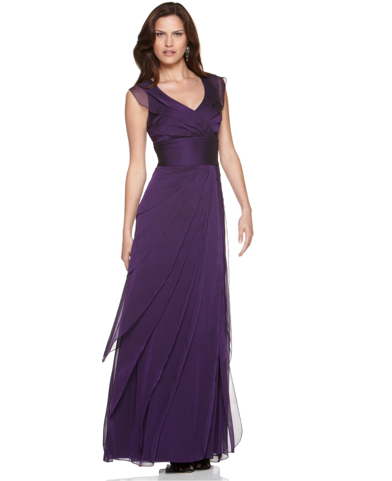 Adrianna Papell Dress, Tiered Evening Dress - Womens Dresses ...