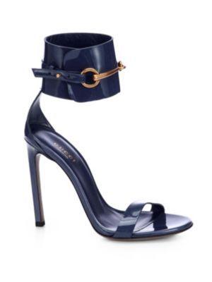 7b68313ab9e Gucci - Ursula Patent Leather Horsebit Ankle-Strap Sandals