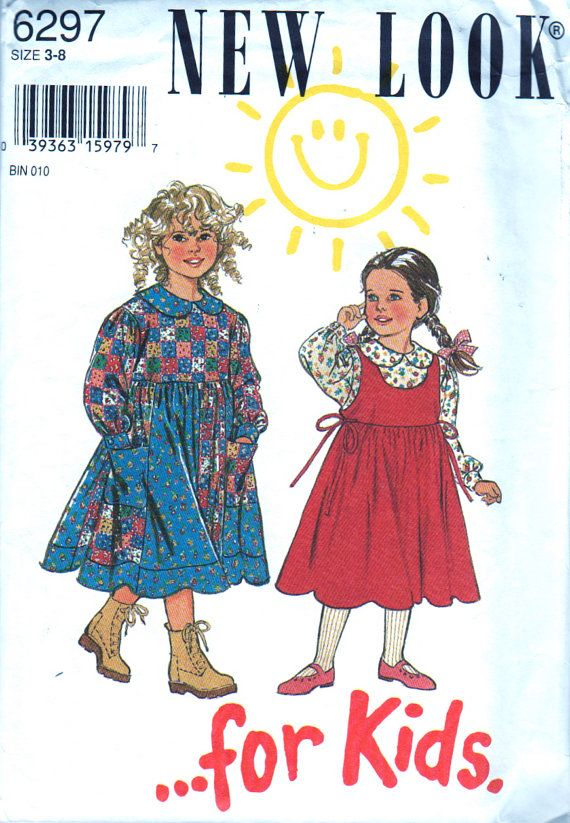 New Look 6297 Girls Blouse Dress and Pinafore Dress Pattern Childs ...