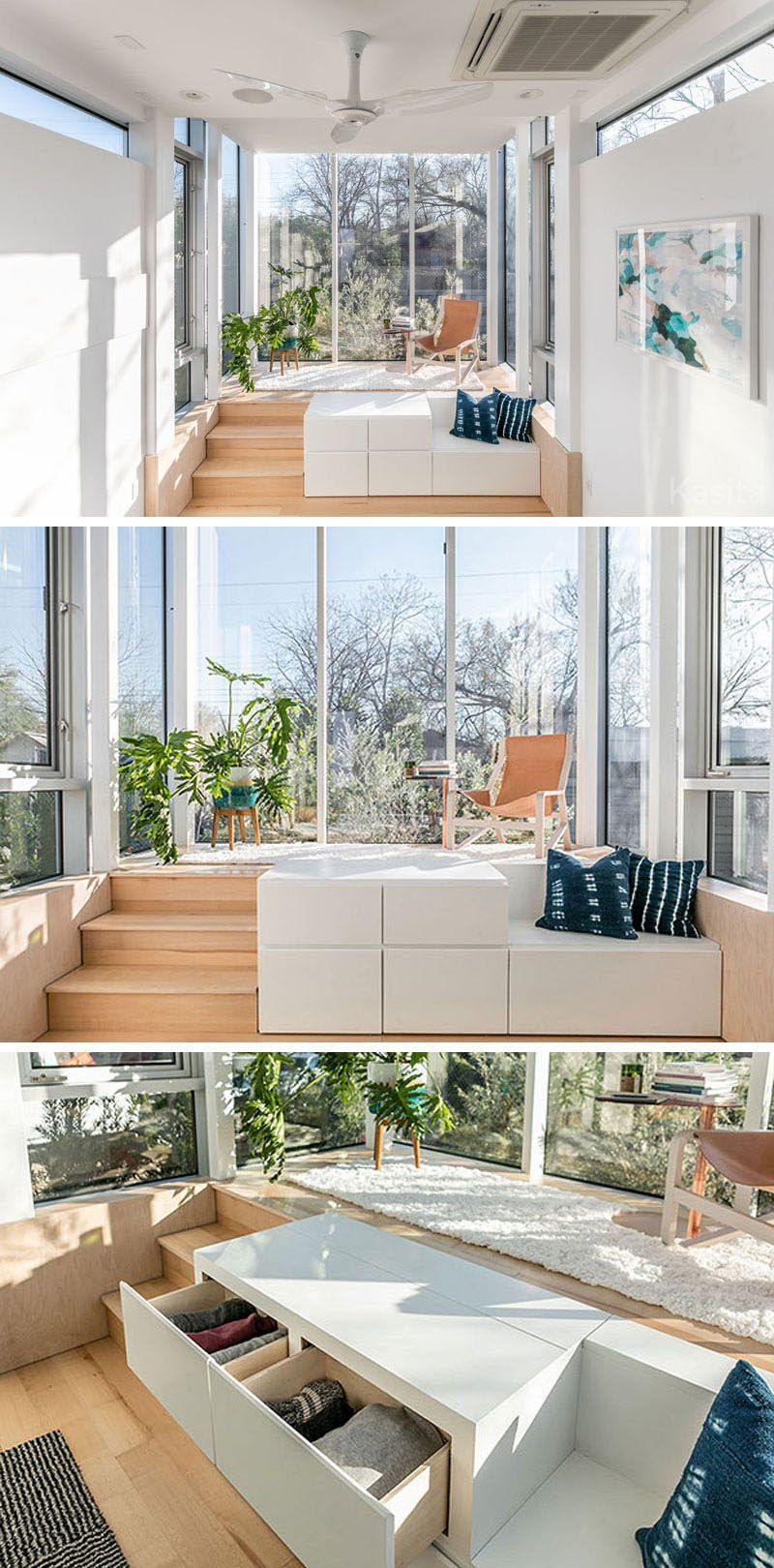 In this modern tiny house theres a raised platform thats surrounded by floor to ceiling windows allowing plenty of light to fill the small space
