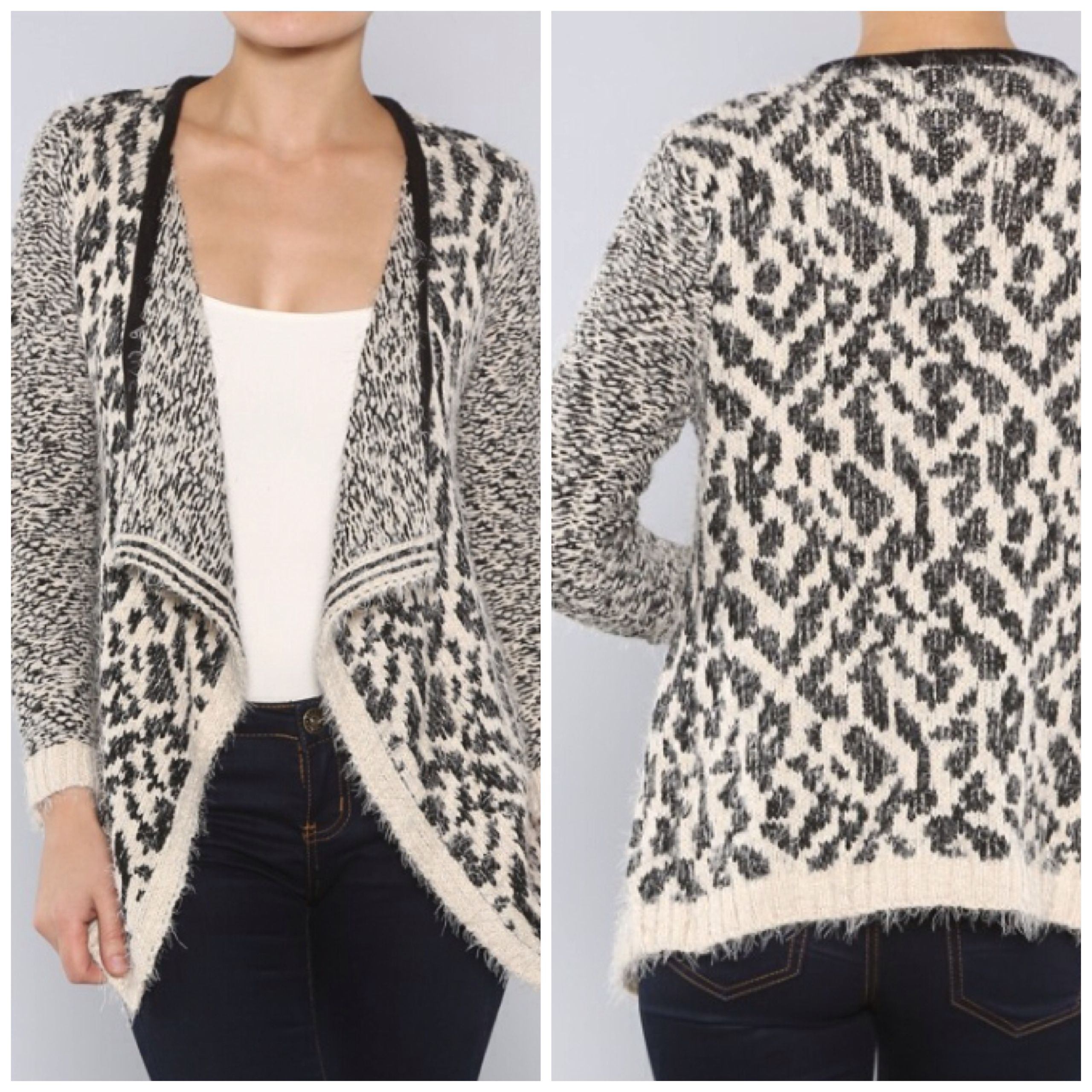 Just in! Cozy up in this furry leopard cardigan. $41 ...