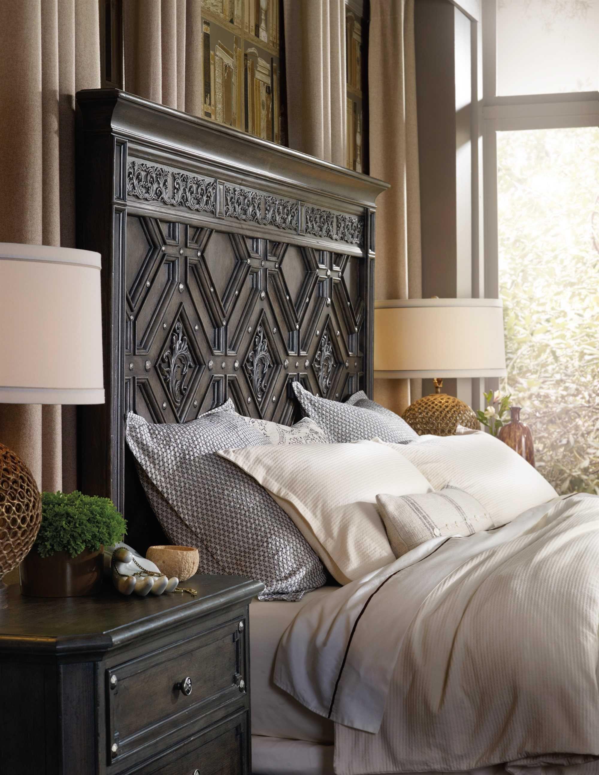 Master bedroom bed  Hooker Furniture Vintage West Wood Panel Bed Bedroom Set  Master