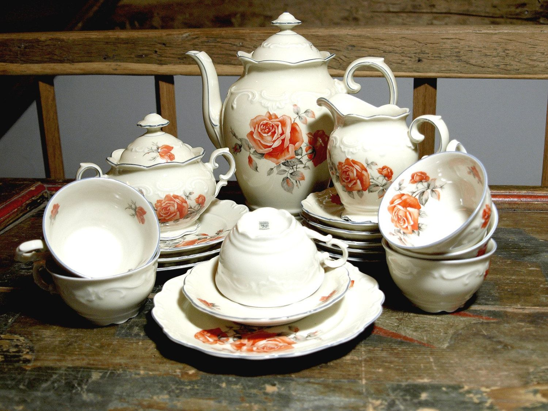 kaffeeservice kanne milch zucker tasse teller porzellan rosen schumann vintage. Black Bedroom Furniture Sets. Home Design Ideas
