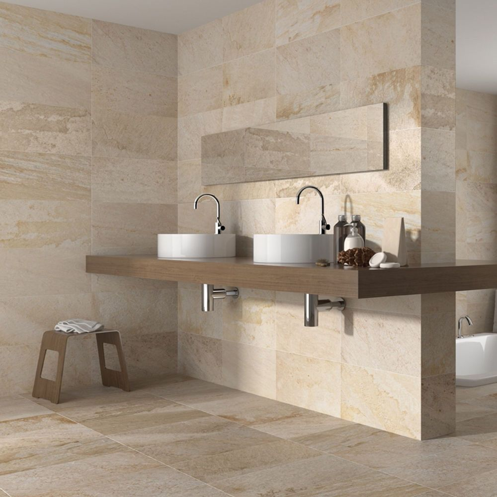 27x50 Matt Cream Stone Effect Ceramic Wall And Floor Tiles 1 Sqm 7 4tiles Cream Bathroom Beige Bathroom Bathroom Wall Tile