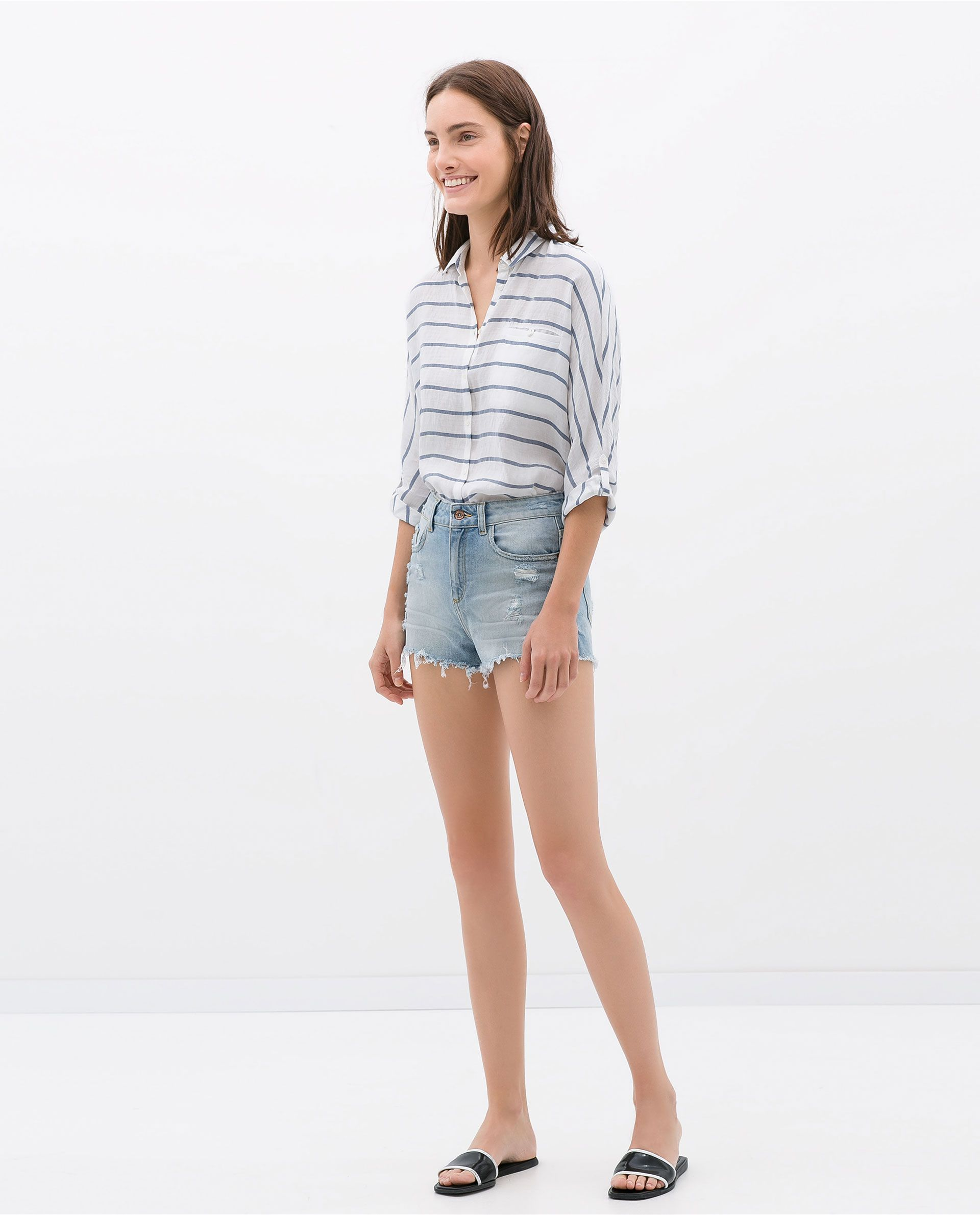 6d19f8f769 RIPPED SHORTS - Jeans - WOMAN | ZARA Canada | Style.05 | Ripped ...