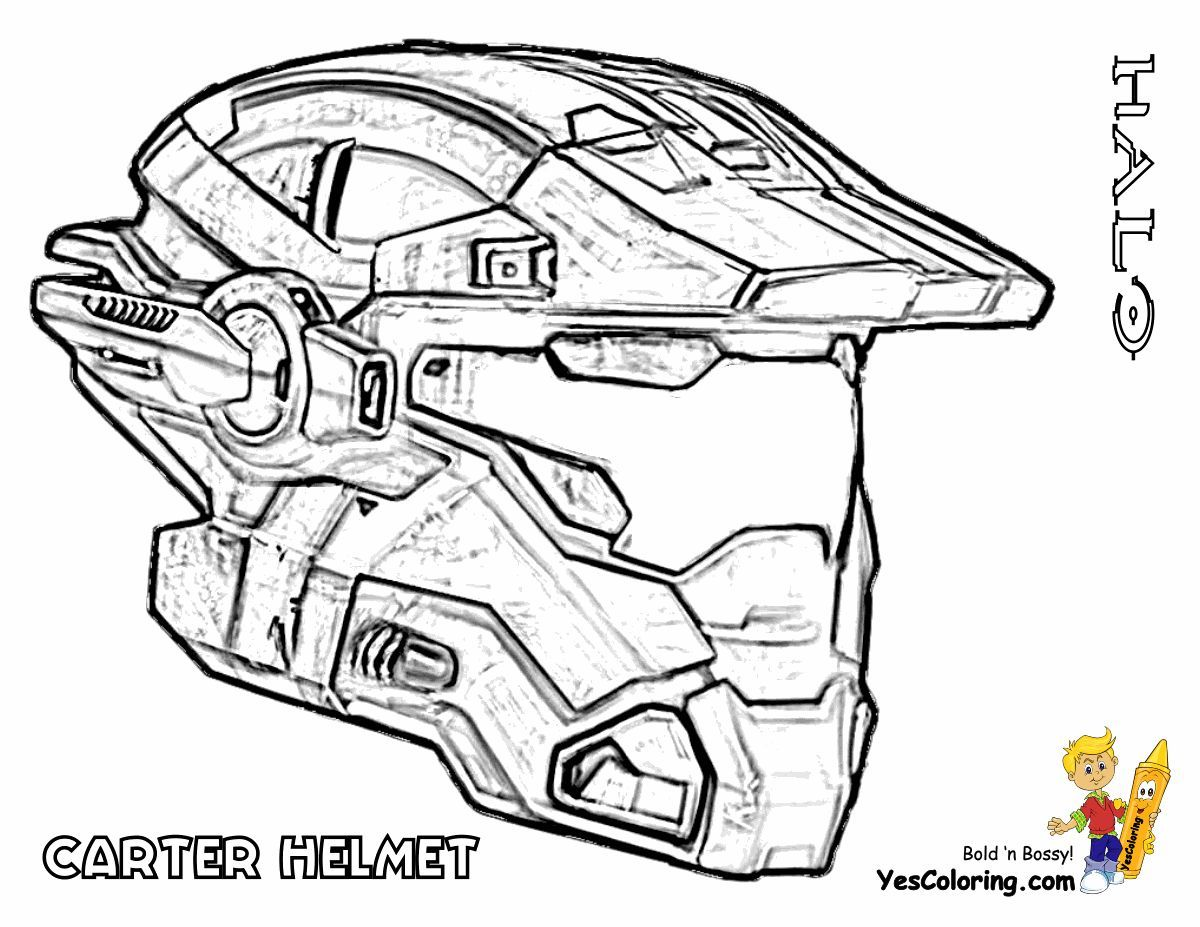 Print Out This Heavy Halo Reach Coloring Carter Helmet