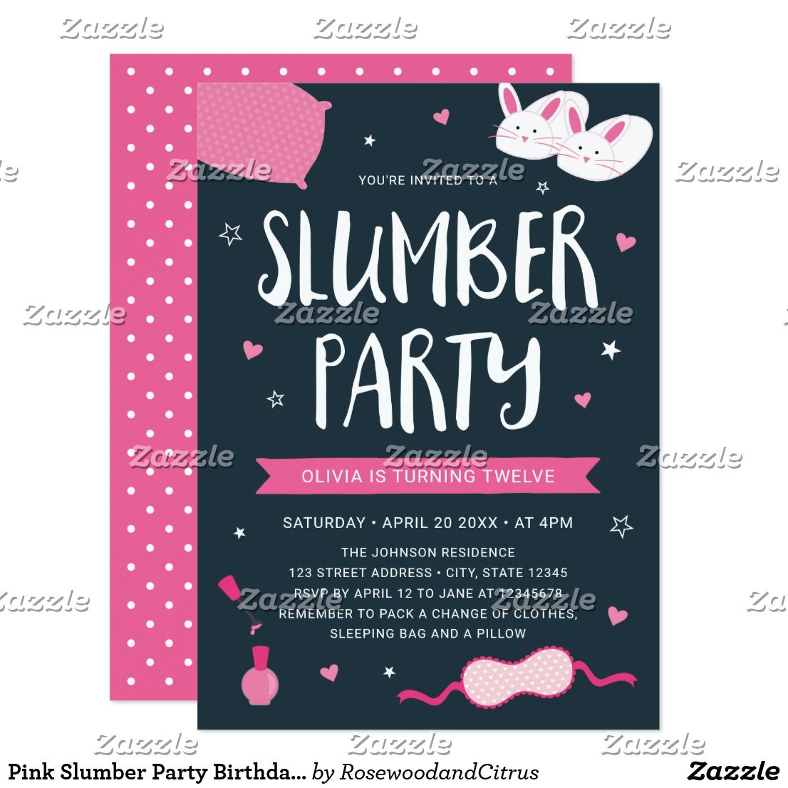 Pink Slumber Party Birthday Invitation Invite Friends To A With This Cute Featuring Eye Mask Nail Polish