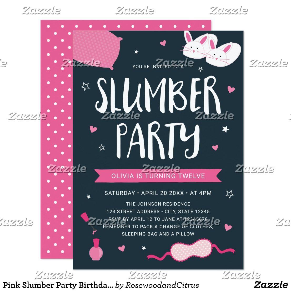 Pink Slumber Party Birthday Invitation | Slumber party birthday ...