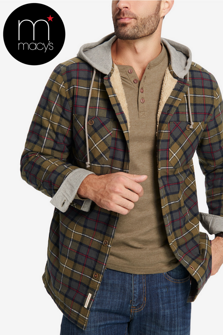 Buy menus plaid fleecelined hooded shirt jacket created for macyus