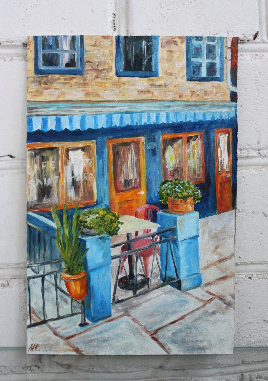 Framed Oil Painting Original Cityscape Italian Cafe Art Romantic ...
