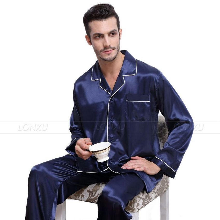 Mens Silk Satin Pajamas Pyjamas Set Sleepwear Set Loungewear U.S. S ... a47c98bed